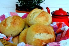 Proste bułki orkiszowe na maślance - SmakiMaroka.pl Hamburger, Bread, Baking, Cook, Brot, Bakken, Burgers, Breads, Backen