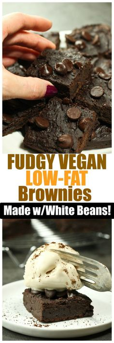 These Fudgy Vegan Gluten-Free Low-Fat Brownies are made in the food processor with no bowl required! These are the most decadent, rich and fudgy brownies without the guilt! You will truly be amazed that these are so low-fat!: