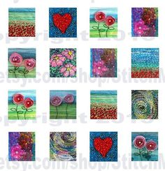 0.75 x 0.83 tiles digital collage sheet instant by StitchMikki, $3.00