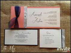 The Meg, Custom Side Pocket Wedding Invitations, Coral and Navy Wedding Invitations, Rustic Wedding Invitations, Inviite By Viizro, www.InviiteByViizro.com