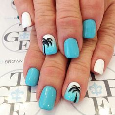 awesome Baby blue, white, palm trees, acrylic nails, gel nails, nail art...
