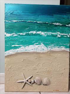 Beach - acrylic mixed media painting on canvas 18x24 inches by V. Lada. Sold