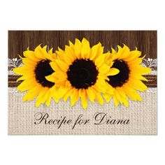 Rustic Country Sunflower Bridal Shower Recipe Card