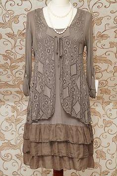 Stunning Diverse Italian 2piece Tunic Dress Mocha Quirky Boho Lagenlook Top OSFA | eBay