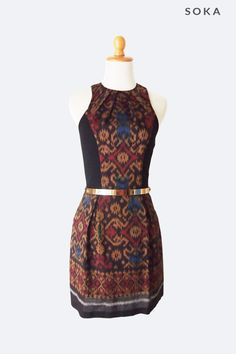 Sale from $110 to $85. A combination between modern and traditional style, tenun fabric with features block black panels on the sides. This mini tenun combination dress has round neck line with pleated details, racer cut style, natural waist line, pleated A-line style skirt, low back cut, slim fit bodice with an invisible zipper fastening on the back. #sale #discount #fashion #ikat #dresses #batik #womendress #sleeveless  #gift #christmasgift #fashiongift #minidress Batik Kebaya, Batik Dress, Fabulous Dresses, Beautiful Outfits, Short Dresses, Dresses For Work, Tribal Dress, Traditional Dresses, Skirt Fashion