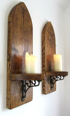 PAIR OF HUGE 80CM GOTHIC ARCH RUSTIC SOLID PLANK WOOD WALL SCONCE CANDLE HOLDER