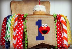ELMO Birthday High Chair Highchair Banner Party Photo Prop Bunting Backdrop Primary Colors Sesame Street First One Elmo's World Any Colors by RawEdgeSewingCo on Etsy https://www.etsy.com/listing/259781701/elmo-birthday-high-chair-highchair