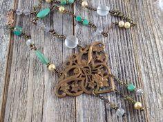 Antique Brass French Art Nouveau Pendant Necklace