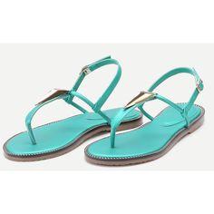 Turquoise Metal Detail Thong Sandals (56 BAM) via Polyvore featuring shoes, sandals, turquoise sandals, toe thongs, toe thong sandals, thong sandals and turquoise blue shoes