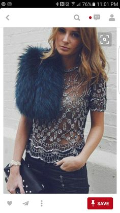 Lace top, fur scarf