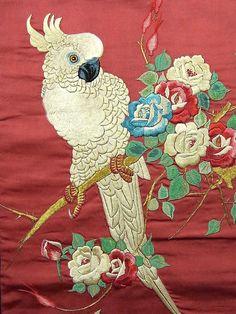 Parrot & Rose Embroidery Vintage Obi! http://www.ichiroya.com/item/list2/223748/