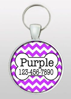 Pet ID - Dog Name Tag - Purple Chevron Dog Tag - Purple Dog Tag - Dog Tag for Dogs - Dog ID - Cat Tag - Cat ID - Cat Tag - Design No. 320