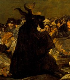 GOYA, Francisco (1746–1828) Witches' Sabbath (The Great He-Goat), detail1821-1823Oil on canvas, 140.5 x 435.7 cm Prado Museum, MadridEd. Orig.