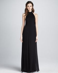 Theyskens' Theory: Daller Halter Maxi Dress  *Daller style in Fotel georgette  *Halter neckline with open back  *Fitted bodice with slight A-line skirt  *Silk  *Imported  $745.00  NM13_T628G