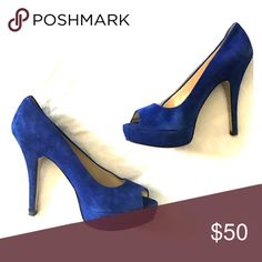Enzo Angiolini 4-in platform heel in blue suede Enzo Angiolini blue suede platform pumps. Great condition as I wore them about 5 times total. Suede and heel cap in NEW condition. Royal blue is a great pop of color. Enzo Angiolini Shoes Heels