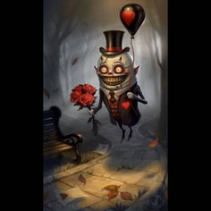 'Date Night' - This is my idea of a Valentine's Day themed image:-) This is another idea that has been on my hard drive for many years I finally decided how to finish it last week. Red Balloon, Balloons, Face Reveal, Creepy Cute, Fairy Art, Great Pictures, Thats Not My, Dating, Creatures