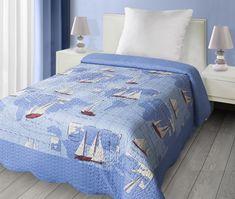 Námořnický přehoz na jednolůžko modré barvy Comforters, Blanket, Bed, Furniture, Home Decor, Scrappy Quilts, Bedspreads, Creature Comforts, Quilts