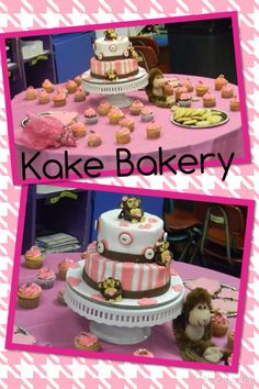 Monkey baby shower cake and cupcakes