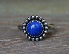 Celestial Sphere Lapis Lazuli Ring, Sterling Silver, Gemstone Ring, Deep Blue, Midnight Denim Blue