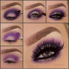 Purple Eyeshadow Makeup Tutorial Step By Step Smoke Eye Makeup, Makeup Eye Looks, Purple Eye Makeup, Eye Makeup Steps, Cute Makeup, Eyeshadow Makeup, Makeup Brushes, Eyeshadows, Purple Smokey Eye