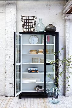Black glass front cabinet with white interior. Great way to display oddities.