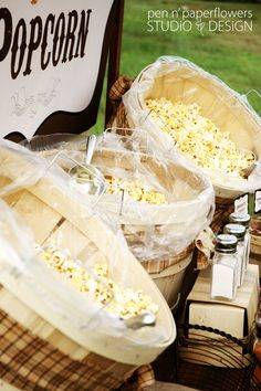 ideas for party snacks easy cheap popcorn bar Wedding Food Bars, Wedding Reception Food, Fall Wedding, Rustic Wedding, Wedding Favors, Wedding Stuff, Wedding Props, Wedding Crafts, Wedding Desserts