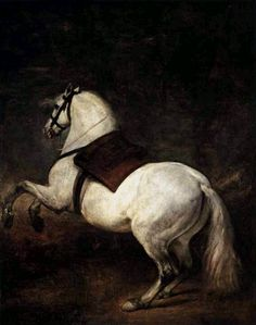 Diego Velazquez -A White Horse, Art Oil Painting Gallery White Horse Painting, Horse Oil Painting, Baroque Painting, Oil Painting On Canvas, Canvas Art, Baroque Art, Painting Art, Caravaggio, Painted Horses