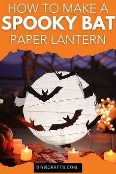 Create a cute spooky bat paper lantern for a great Halloween decoration! This is a perfect easy kids Halloween craft to make this year! Turn an ordinary paper lantern into a spooky decoration perfect for your Halloween haunted house! #paperlantern #halloween #batlantern #halloweenlantern #halloweenkidscraft #kidscraft Halloween Lanterns, Halloween Crafts For Kids, Halloween Fun, Halloween Decorations, Easy Paper Crafts, Glue Crafts, Crafts To Make, Paper Fan Decorations, Spooky Decor