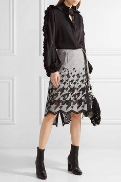 Sacai | Asymmetric broderie anglaise cotton-blend skirt | NET-A-PORTER.COM