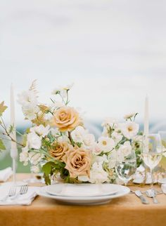 beautiful and elegant table scape for a wedding with a centerpiece with white flowers and light orange cream colored roses matching the table cloth wedding tables scapes Floral Centerpieces, Wedding Centerpieces, Floral Arrangements, Wedding Decorations, Wedding Tables, Centrepieces, Wedding Venues, Ikebana, Some Beautiful Images