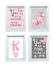 Butterfly Nursery Decor Quote You Are My Sunshine Wall Art Personalized Name Custom Initial Set of 3- 8x10 Print  Girl room decor Pink Gray