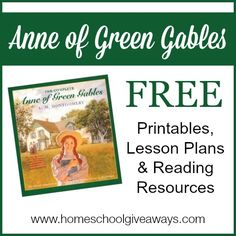 Anne of Green Gables FREE Printables, Lesson Plans and Reading Resources - Homeschool Giveaways Reading Resources, Book Activities, History Activities, Reading Lists, Kids Book Club, Book Study, Anne Of Green Gables, English, Literature