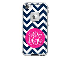 Monogrammed LifeProof Fre iPhone 5s, iPhone 5 or iPhone 4/4s Phone Case - Chevron Pattern Custom Printed Case on Etsy, $99.00