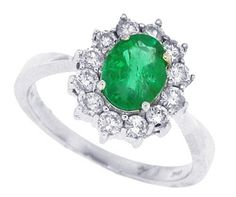 Emerald Diamond Ring in 14kt White Gold    We have this ring in Sapphire and Ruby as well.     www.Facebook.com/Maurice Jewelry    emaurice.com