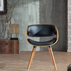 Corvus Walnut and Black Mid Century Bentwood Accent Chair - Free Shipping Today - Overstock.com - 17792927 - Mobile