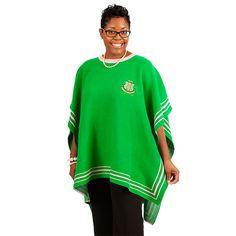 Green Poncho Sweater Sorority Fashion, Sorority Outfits, Black Poncho, Green Tunic, Poncho Sweater, Knitted Poncho, Alpha Kappa Alpha Paraphernalia, Aka Sorority, Sorority Life