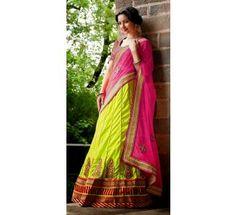 Pink & Green Weaved Fabric & Net & Raw Silk Blouse Heavy Embroidery Work & Hand Work Lehenga Saree