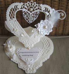 M.K - mallen van MD, bloemen, plakparels,pluimpje Wedding Day Cards, Wedding Cards Handmade, Wedding Anniversary Cards, Pretty Cards, Love Cards, Tuxedo Card, Marianne Design Cards, Exploding Box Card, Romantic Cards