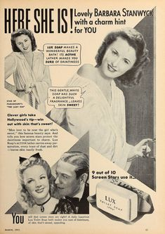 Barbara Stanwyck, 1941 Barbara Stanwyck Movies, The Lady Eve, Active You, Beauty Soap, Soap Making, Clever, Hollywood Stars, Magazine Covers, Front Row