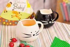 Coffee-Ceramic-Mugs-Black-amp-White-Cat-Olia-Design-Set-of-2-for-Gift-or-lovers