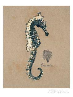 Vintage Linen Seahorse Prints by Regina-Andrew Design at AllPosters.com