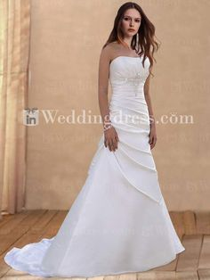 Strapless Trumpet Satin Corset Wedding Dress BC513 (Front)