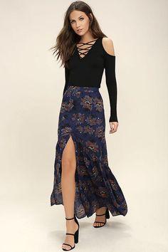 Lulus - Lulus Villa d'Este Navy Blue Floral Print Maxi Skirt - AdoreWe.com