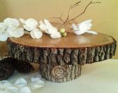 """16"""" x 14""""  -  Oak Tree Trunk Cake stand with clear coat with Oak Engraved tag - Rustic Wedding decor - Thanksgiving centerpiece - Christmas"""
