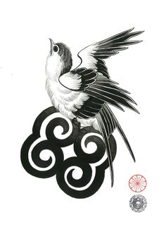 Japanese Design, Japanese Art, Life Tattoos, Tatoos, Oriental, Japanese Drawings, Swallow Tattoo, Tattoo Project, Swallows