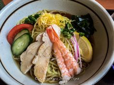 https://flic.kr/p/xMxxD3 | Hiyashi chūka, Chilled Ramen Noodles. | Today's lunch at a traditional Japanese family restaurant (Sato Japanese food-和食さと) in Kyotanabe. Hiyashi chūka (冷やし中華), a chilled ramen noodle dish with different toppings and a spicy karashi mustard sauce topped with sesame seeds.