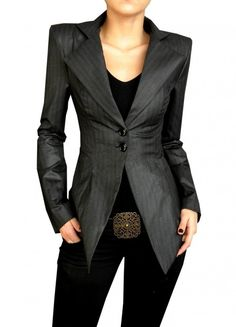 Dark grey long sleeve blazer, black tank, black slacks with stylish belt.