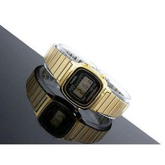 Casio Gold Tone Women's Digital Watch Black Dial Adjustable Bracelet LA670 New