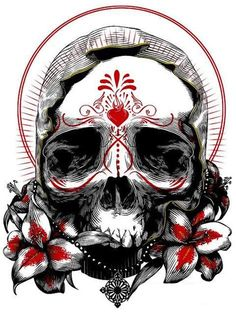 Trash polka styled skull with flowers   Tattoo designs ...