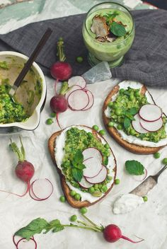 Toasted Rye with Labneh & Fava/Sweet Pea/Mizuna Spread + Cold Avocado & Cucumber Soup | The Gouda Life